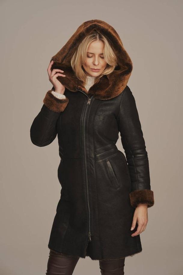 Dámský zimní kabát s kožíškem - Kožíšek dámský