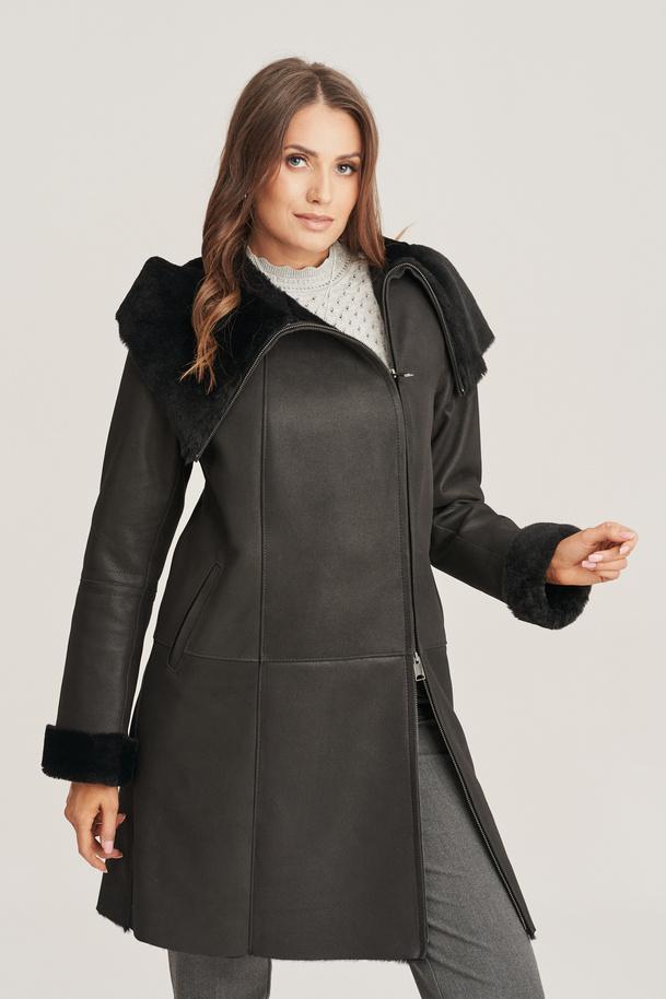 Kabát z ovčí kůže - Zimní kabát dámský černý