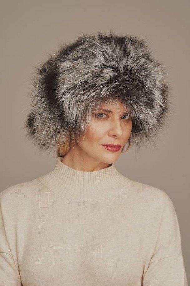 Kožešinová čepice - liška stříbrná