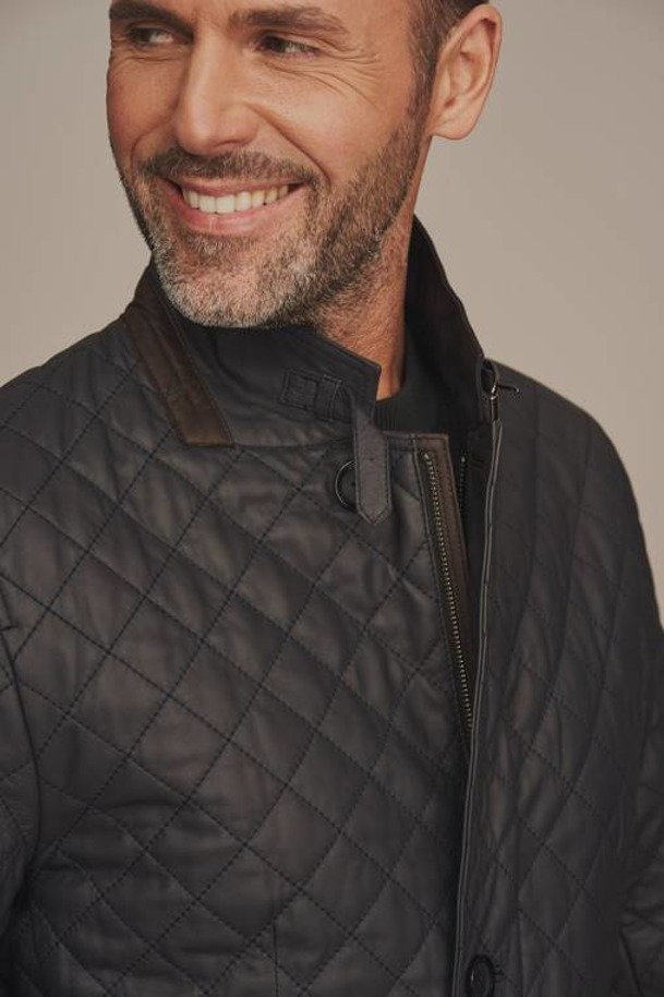 Pánská prošívaná kožená bunda