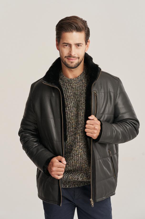 Pánská zimní černá kožená bunda s kapucí