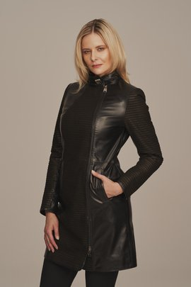 Black leather coat women's