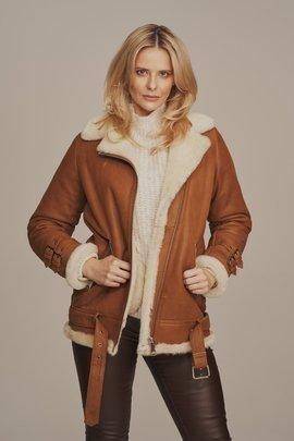 Women's sheepskin aviator jacket