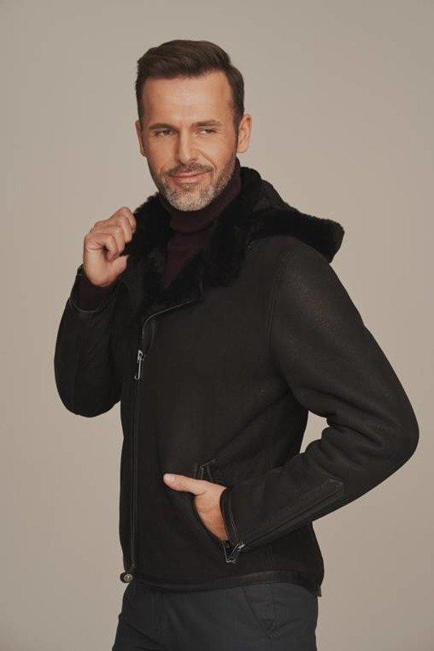 Men's black sheepskin jacket