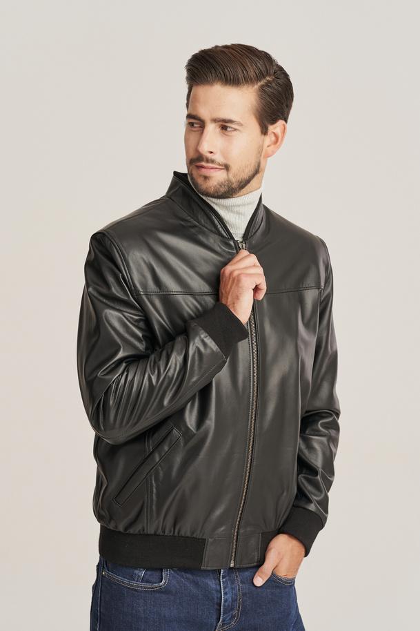 Mens leather bomber jacket black