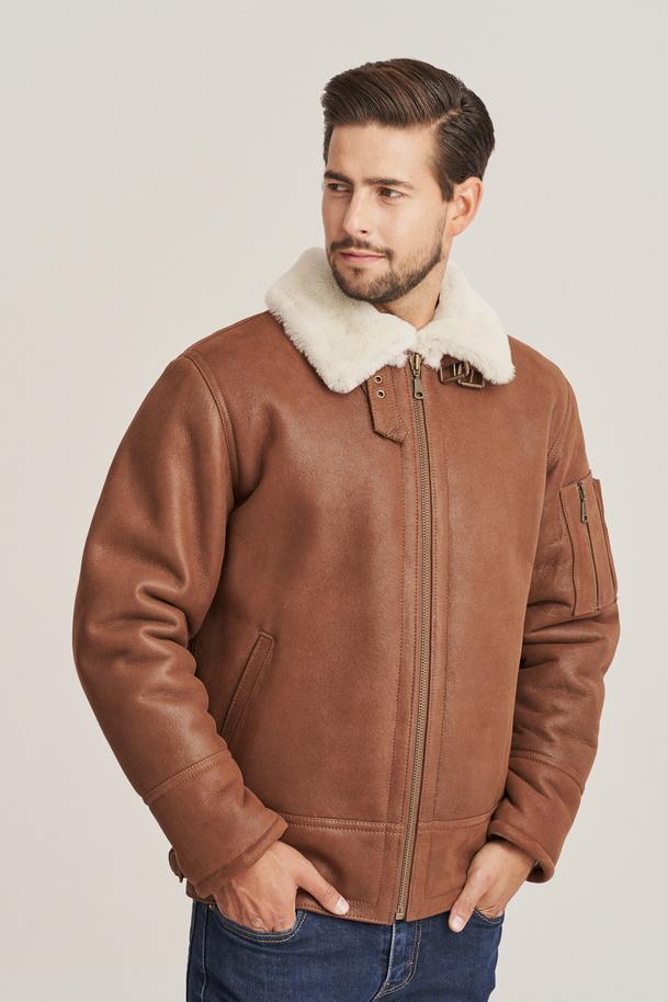 Men's sheepskin jacket -  B-3 bomber jacket
