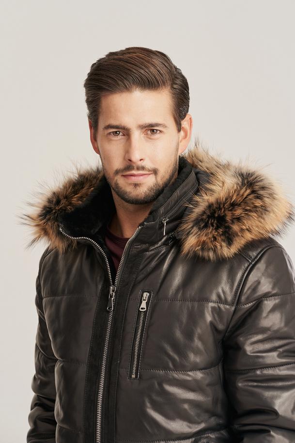 Men's winter leather jacket
