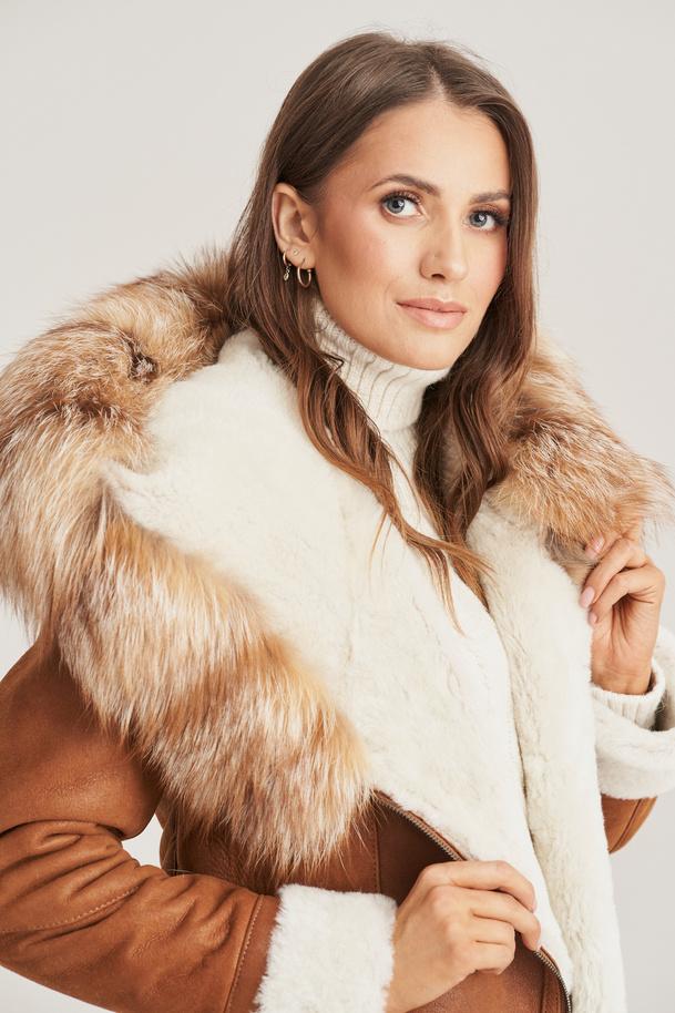 Damen Lammfelljacke mit Kapuze