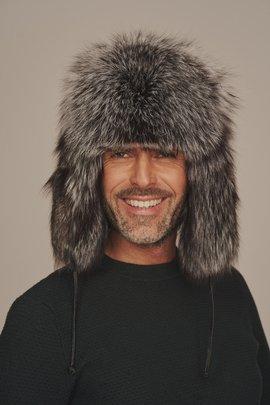Mens silver fox fur hat