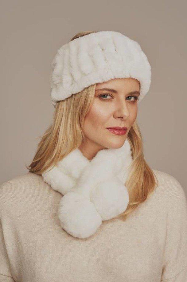 Fur white winter headband
