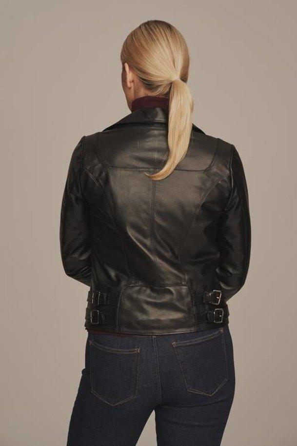 Womens leather biker jacket black