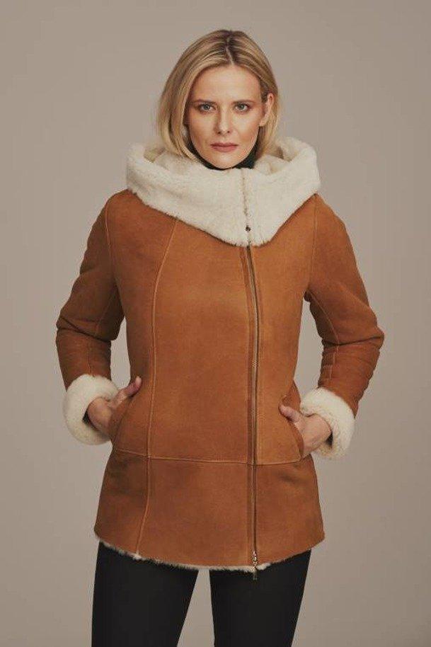 Damska kurtka skórzana zimowa - Kożuszek damski z kapturem