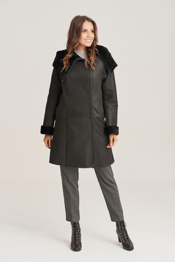 Kożuch damski - Płaszcz skórzany damski zimowy czarny z kapturem