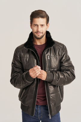 Pánska zimná bunda z pravej kože s kapucňou