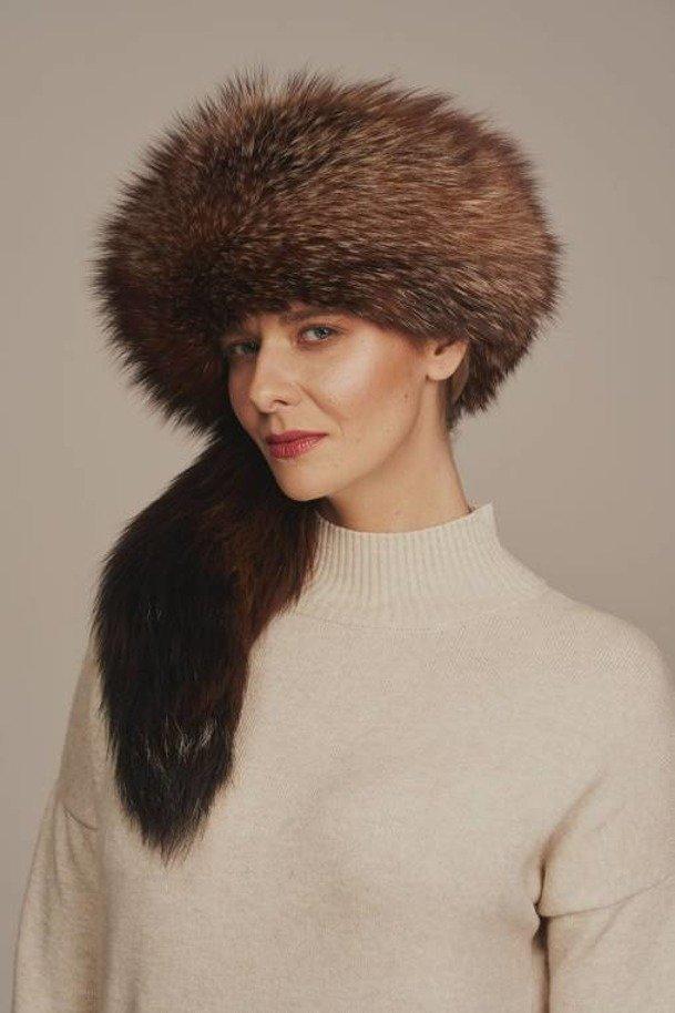 Prírodná kožušinová čiapka vyrobená z líšky