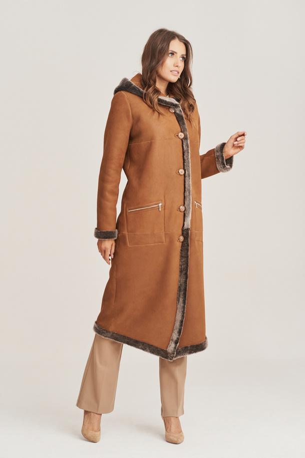 Dámsky obojstranný kabát z ovčej kože - Dámska kožušina s kapucňou