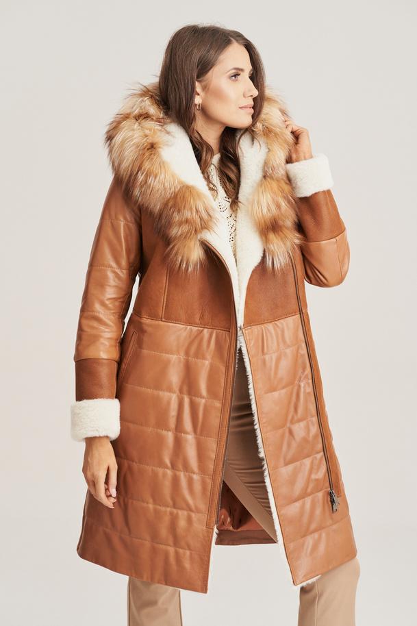 Dámsky zimný kožený kabát s kožušinou