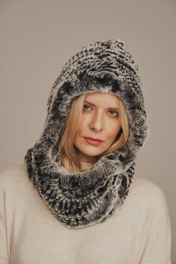 Dámsky zimný kožušinový šál Prírodný kožušinový šál s kapucňou