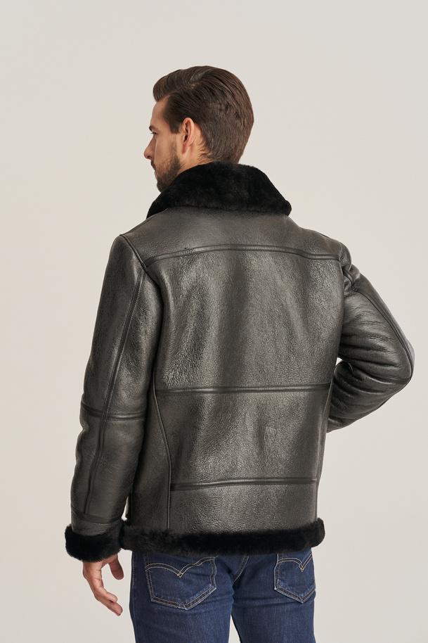 Kožená bunda pilotov - Pánska zimná kožená bunda