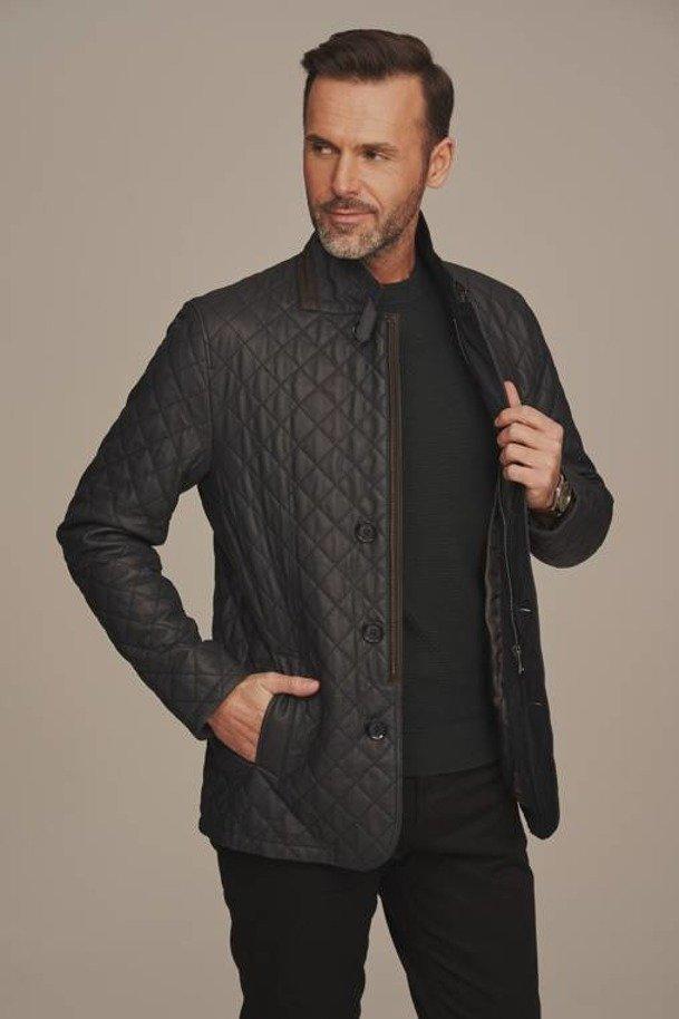 Pánska prešívaná zateplená kožená bunda