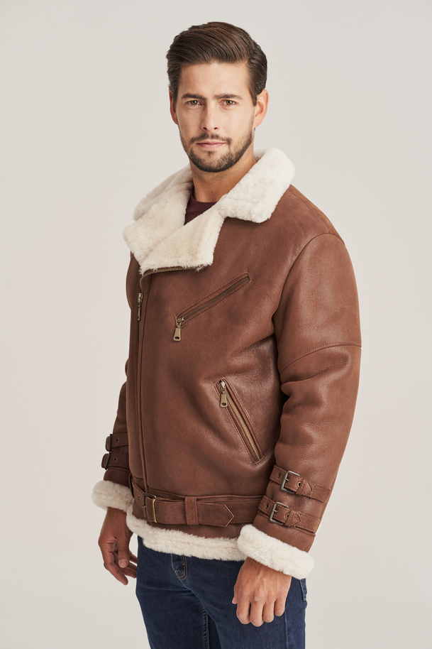 Pánska zimná kožená bunda - Pilotska bunda