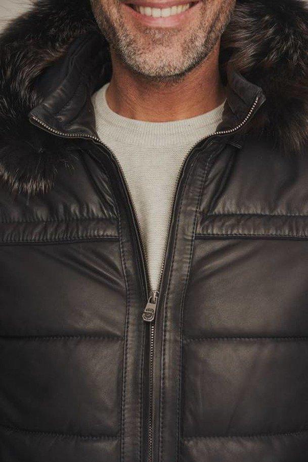 Pánska zimná kožená bunda s kapucňou