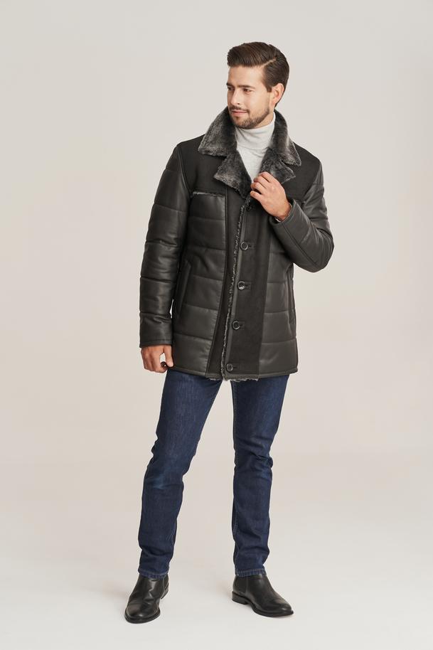 Pánsky zateplený kožený kabát